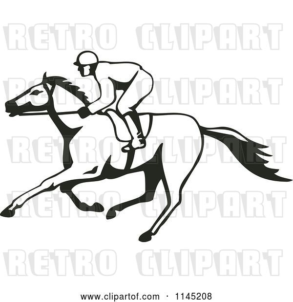 Vector Clip Art of Retro Derby Horse Race Jockey