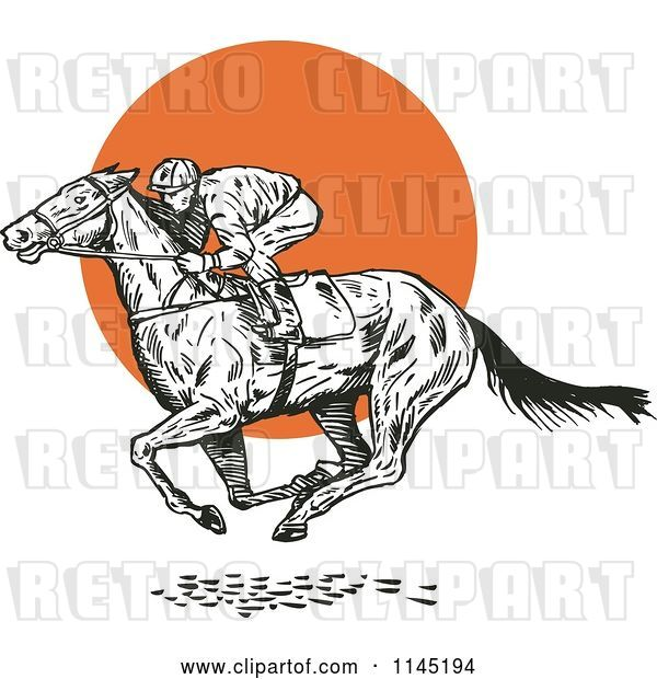 Vector Clip Art of Retro Derby Horse Race Jockey over an Orange Circle