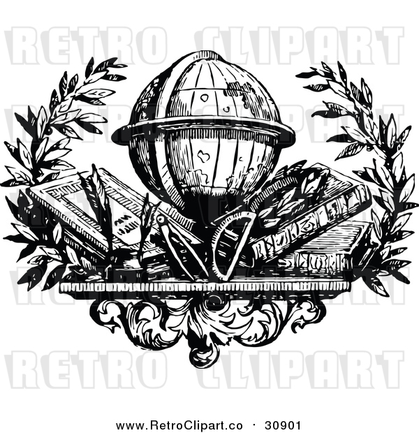 Vector Clip Art of Retro Desk Globe over Books