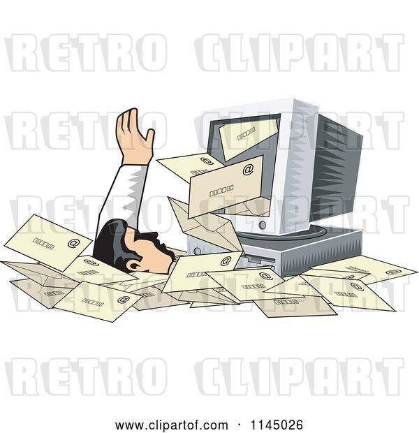 Vector Clip Art of Retro Desktop Computer Spewing out Email and Burying a Guy in Spam