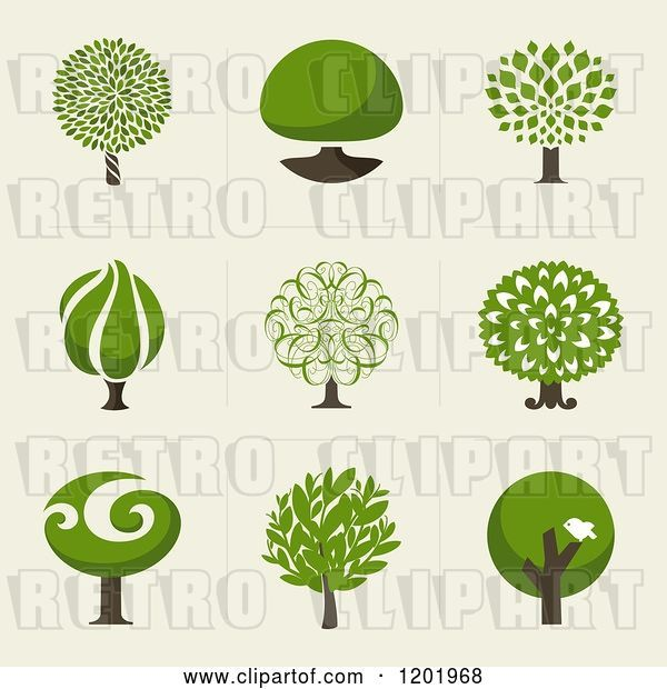 Vector Clip Art of Retro Different Styled Green Tree Squares