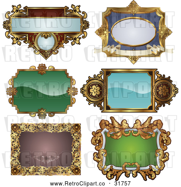Vector Clip Art of Retro Digital Collage of Antique and Styled Ornate Frame Designs - 1