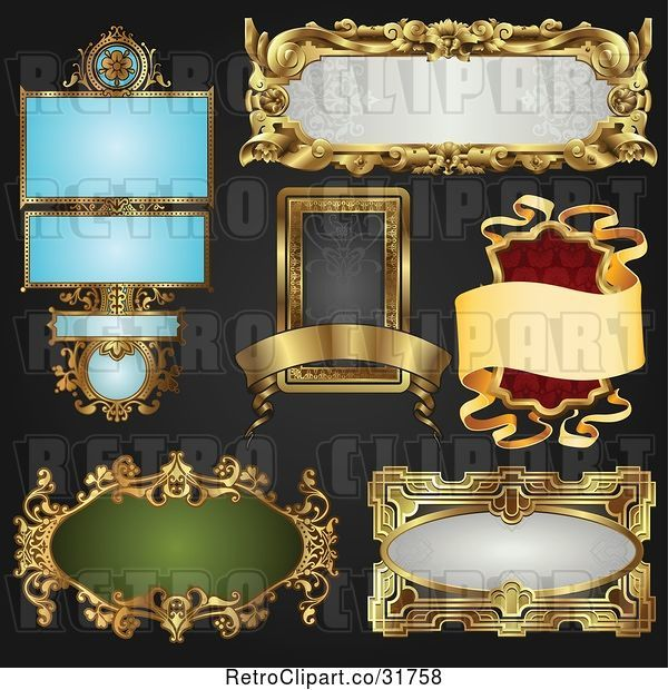 Vector Clip Art of Retro Digital Collage of Antique and Styled Ornate Frame Designs on Black - 3