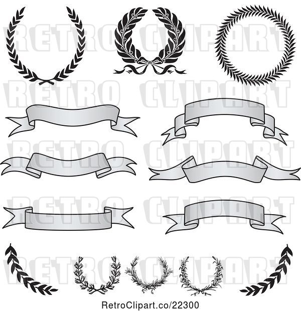 Vector Clip Art of Retro Digital Collage of Grayscale Banners, Laurels and Wreaths