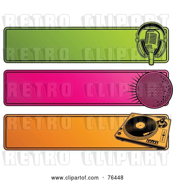 Vector Clip Art of Retro Digital Collage of Green, Pink and Orange Website Headers; Microphone, Disco Ball and Record Player