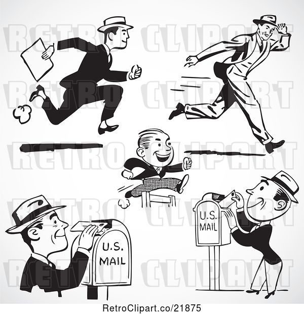 Vector Clip Art of Retro Digital Collage of Men Running and Sending Mail