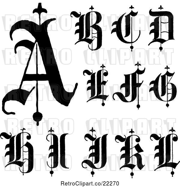 Vector Clip Art of Retro Digital Collage of Old English Abc Letters a Through L