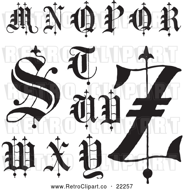 Vector Clip Art of Retro Digital Collage of Old English Abc Letters M Through Z