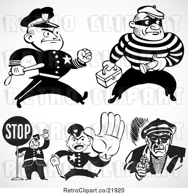 Vector Clip Art of Retro Digital Collage of Policemen and Criminals
