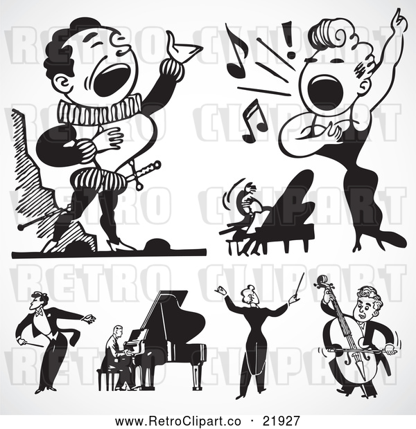 Vector Clip Art of Retro Digital Collage of Singers and Musicians
