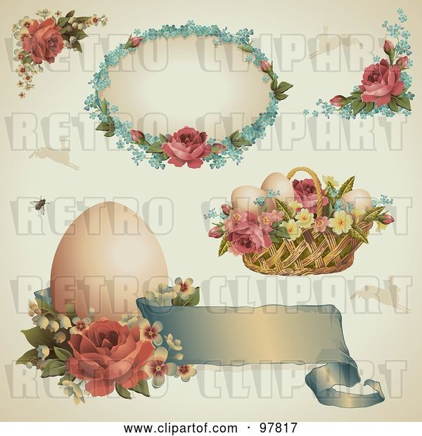 Vector Clip Art of Retro Digital Collage of Victorian Easter Design Elements with Roses, Eggs and Baskets