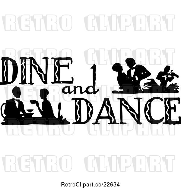 Vector Clip Art of Retro Dine and Dance Sign