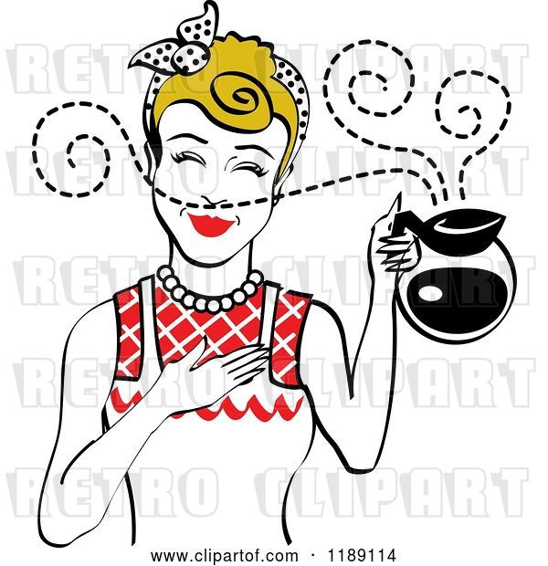Vector Clip Art of Retro Dirty Blond Waitress or Housewife Smelling the Aroma of Fresh Hot Coffee in a Pot 2