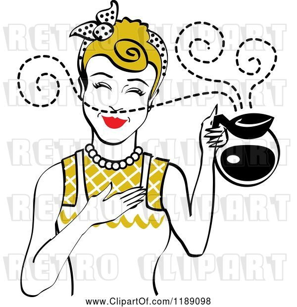Vector Clip Art of Retro Dirty Blond Waitress or Housewife Smelling the Aroma of Fresh Hot Coffee in a Pot
