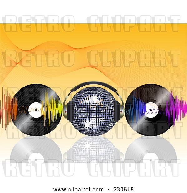 Vector Clip Art of Retro Disco Ball with Headphones, Waves and Vinyl Records on Orange