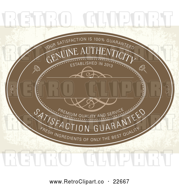 Vector Clip Art of Retro Distressed Brown Genuine Authenticity Label on Beige