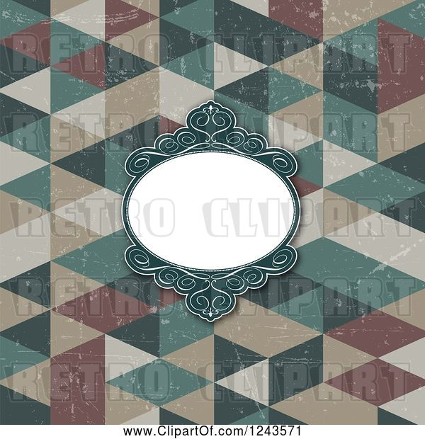 Vector Clip Art of Retro Distressed Geometric Background with an Ornate Frame