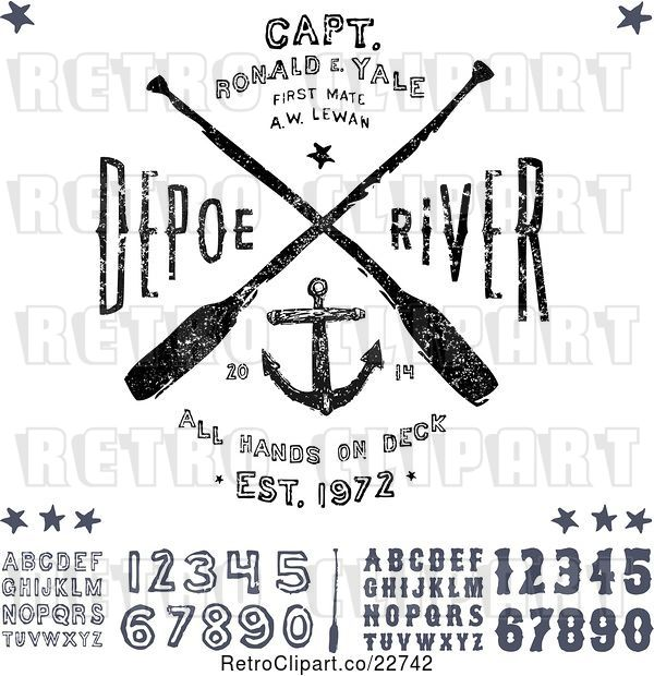 Vector Clip Art of Retro Distressed Navy Anchor and Paddle Designs with Letters and Numbers