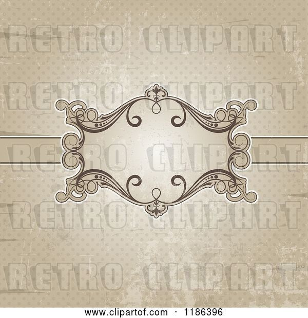 Vector Clip Art of Retro Distressed Sepia Polka Dot Background with an Ornate Frame