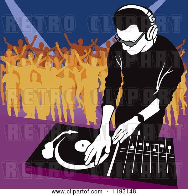 Vector Clip Art of Retro Dj Mixing a Record and Silhouetted Dancers