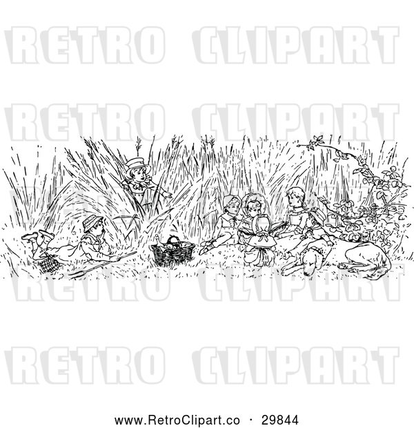 Vector Clip Art of Retro Dog and Children in Tall Grass