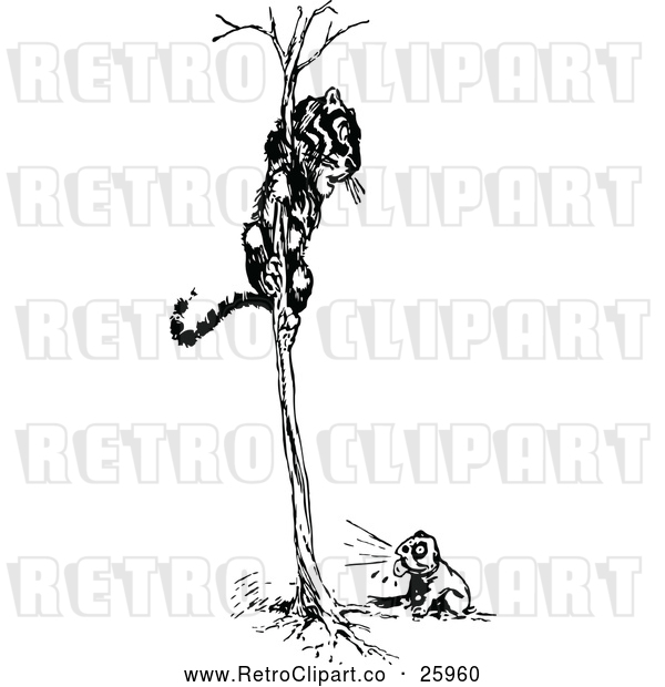 Vector Clip Art of Retro Dog Chasing a Tiger in a Tree