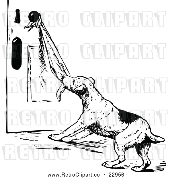 : Vector Clip Art of Retro Dog Pulling on a Towel on a Door Knob