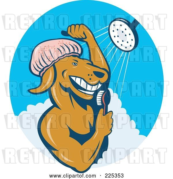 Vector Clip Art of Retro Dog Showering Logo