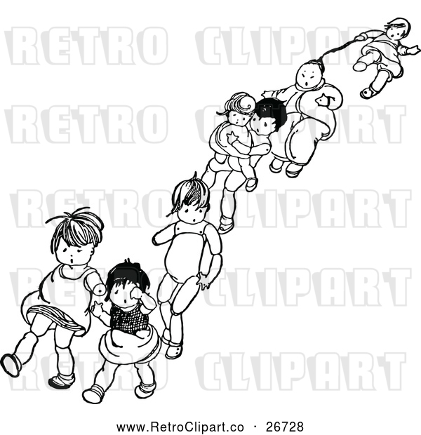 Vector Clip Art of Retro Dolls Walking