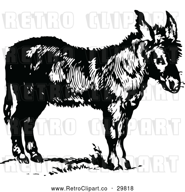 : Vector Clip Art of Retro Donkey