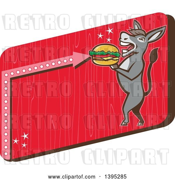 Vector Clip Art of Retro Donkey Standing Upright and About to Take a Bite out of a Cheeseburger on a Red Sign