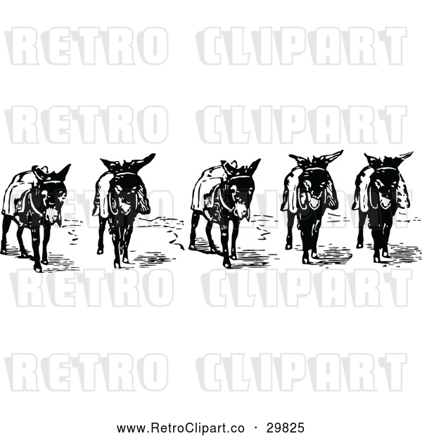Vector Clip Art of Retro Donkeys