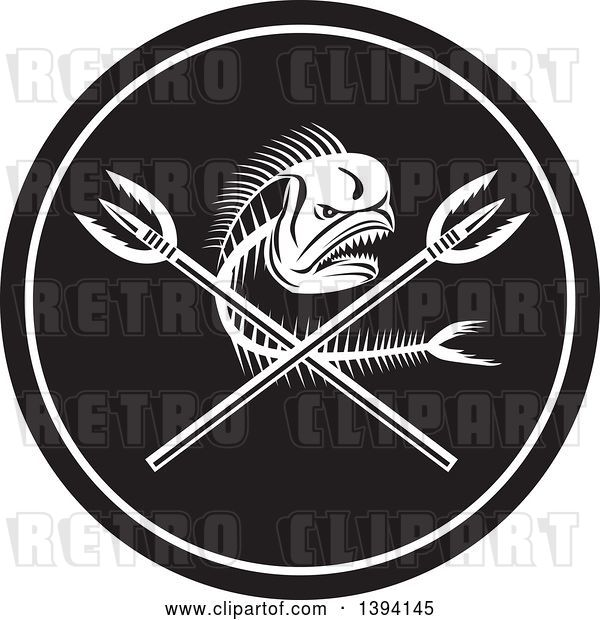 Vector Clip Art of Retro Dorado Dolphin Fish Skeleton and Crossed Spears in a Circle
