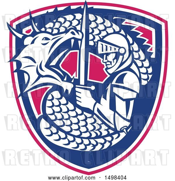Vector Clip Art of Retro Dragon Battling and Coiling Around St George with a Sword in a Shield