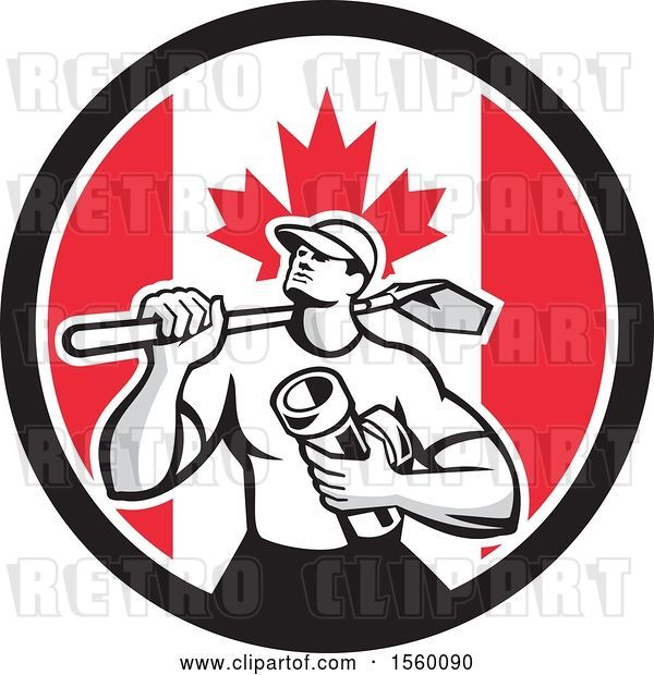 Vector Clip Art of Retro Drainlayer Guy Carrying a Shovel and Pipe in a Canadian Flag Circle
