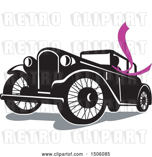 Vector Clip Art of Retro Driver Wearing a Long Purple Scarf in a Coupe Automobile