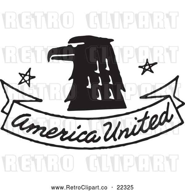 : Vector Clip Art of Retro Eagle with American United Banner