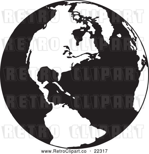 Vector Clip Art of Retro Earth Featuring the Americas