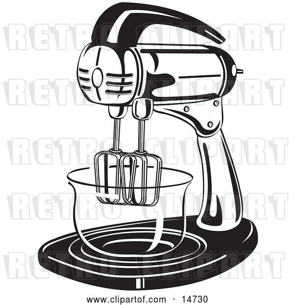 Vector Clip Art of Retro Electric Mixer in a Kitchen