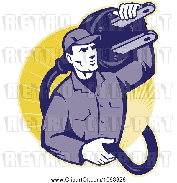 Vector Clip Art of Retro Electrician Carrying a Heavy Plug
