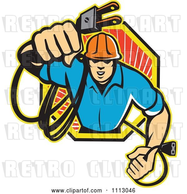 Vector Clip Art of Retro Electrician Holding out a Plug in an Octogon