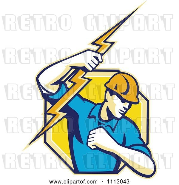 Vector Clip Art of Retro Electrician Lineman Holding a Bolt in an Octagon