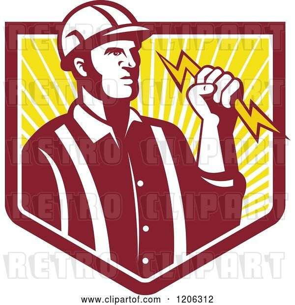 Vector Clip Art of Retro Electrician Worker Guy Holding a Bolt over a Ray Crest Shield