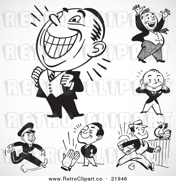 Vector Clip Art of Retro Energetic Businessmen