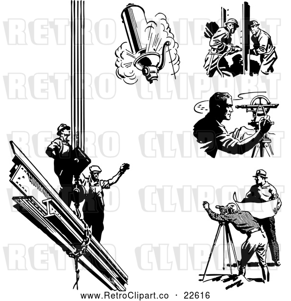 : Vector Clip Art of Retro Engineers Surveyors and Construction Workers