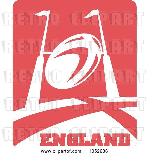 Vector Clip Art of Retro England Rugby Football - 1
