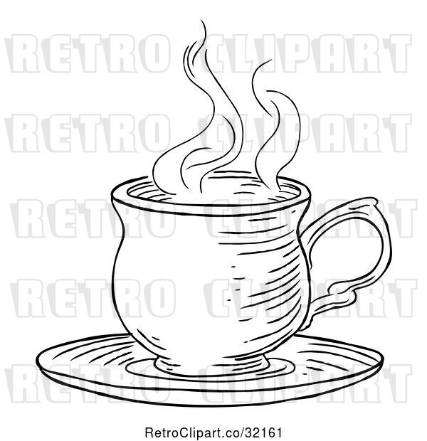 Vector Clip Art of Retro Engraved Cup of Hot Tea or Coffee