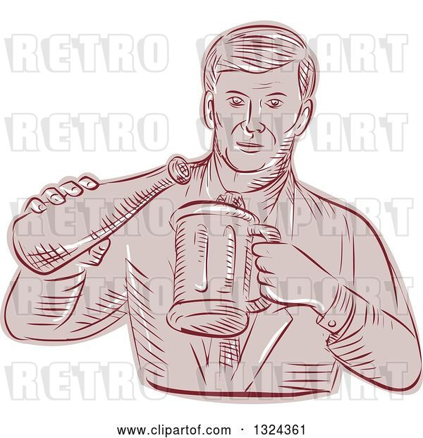 Vector Clip Art of Retro Engraved or Sketched Guy Pouring Beer into a Mug