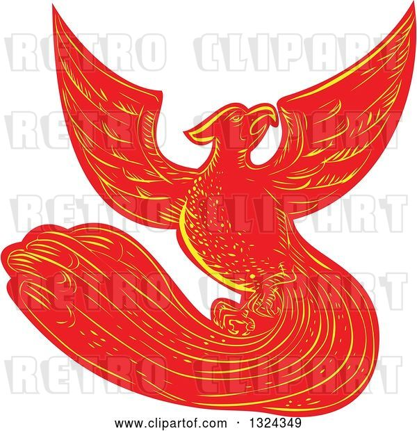 Vector Clip Art of Retro Engraved or Sketched Phoenix Bird Rising