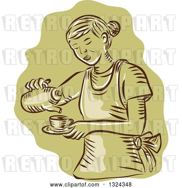 Vector Clip Art of Retro Engraved or Sketched Waitress Pouring Tea into a Cup, over Green